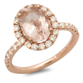 2 carat Oval Morganite Engagement Ring on 14K Rose Gold