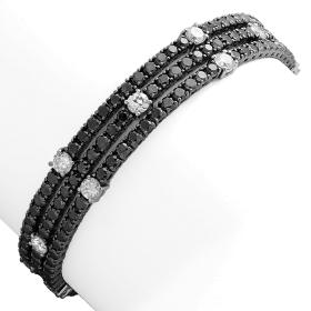 10.66 ct Black Diamond Bracelet on 14K White Gold