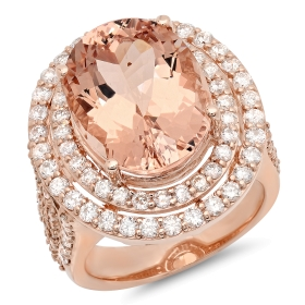 10.99 ct Morganite & Diamond Ring on 14K Rose Gold