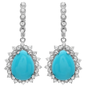 11.07 ct Turquoise & Diamond Tear Drop Earrings on 14K White Gold