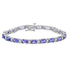 11.08 ct Tanzanite & Diamond Bracelet on 14K White Gold