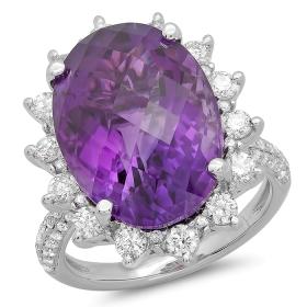 11.57 ct Amethyst & Diamond Ring on 14K White Gold