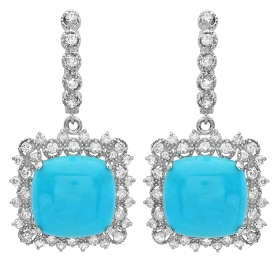 14.45 ct Turquoise & Diamond Drop Earrings on 14K White Gold