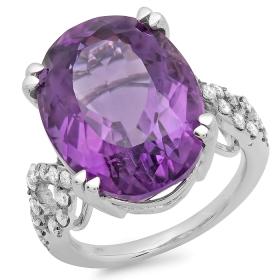 15.03 ct Amethyst & Diamond Ring on 14K White Gold
