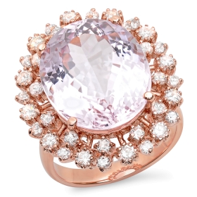 16.2ct Oval Cut Kunzite and Diamond Ring on 14K Rose Gold