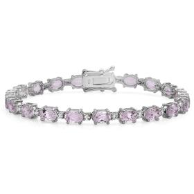 16.40 ct Kunzite & Diamond Bracelet on 18K White Gold