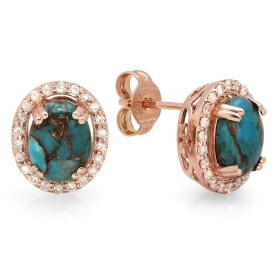 2.03 ct Copper Turquoise & Diamond Halo Earrings on 14K Rose Gold