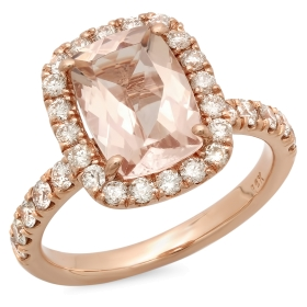 2 ct Morganite Cushion Cut Engagement Ring on Rose Gold