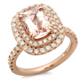 Cushion Cut Morganite Engagement Ring on Rose Gold
