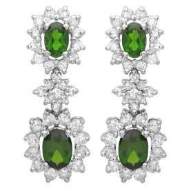 2.14 ct Chrome Diopside Diamond Dangle Earrings on White Gold