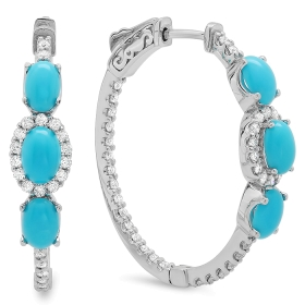2.22 ct Turquoise & Diamond Hoop Earrings on 14K White Gold