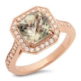 2.39ct Green Amethyst and Diamond Ring on 14K Rose Gold