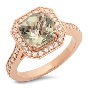 2 ct Green Amethyst & Diamond Ring on 14K Rose Gold