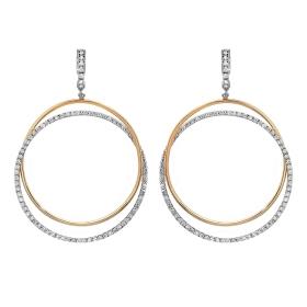 2.45 ct Double Hoop Diamond Earrings on 14K Two Tone Gold