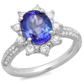 2.5 ct Tanzanite Oval & Diamond Ring 14K White Gold