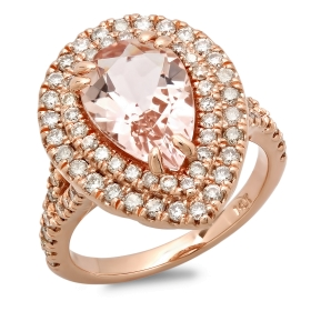 2.55 ct Morganite Pear Engagement Ring on 14K Rose Gold