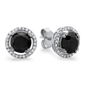2.7 ct Black Diamond Earrings with Halo on 14K White Gold