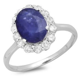 2.82 ct Blue Sapphire & Diamond Ring on 14K White Gold