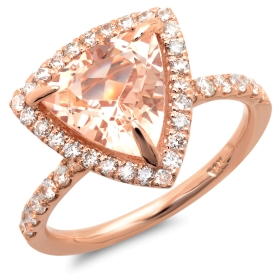 2.83 ct Trillion Cut Morganite Ring on 14K Rose Gold