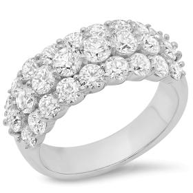 2.84 ct Three Row Diamond Fancy Ring on 14K White Gold