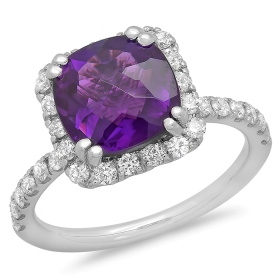 2.85 ct Amethyst & Diamond Ring on 14K White Gold
