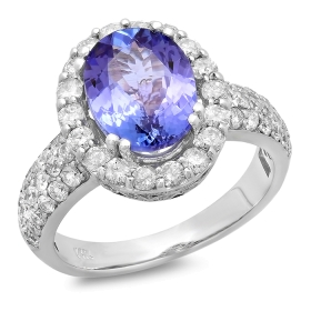2.86 ct Tanzanite & Diamond Halo Ring on 14K White Gold