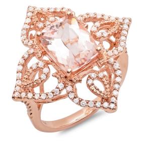 2.91 ct Morganite & Diamond Ring on 14K Rose Gold