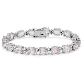 27.11 ct Kunzite & Diamond Bracelet on 18K White Gold