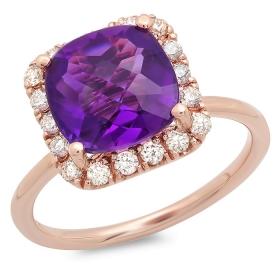 3 ct cushion-cut Amethyst Diamond Halo Ring 14K Rose Gold