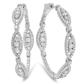 3.19 ct Diamond Ellipse Earrings on 14K White Gold