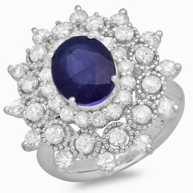 3.31 ct Blue Sapphire & Diamond Ring on 14K White Gold