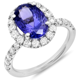 3 ct Oval Tanzanite Ring on 14K White Gold