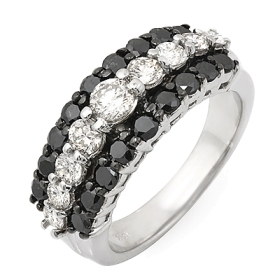 3 Row Black & White Diamond Ring on 14K White Gold