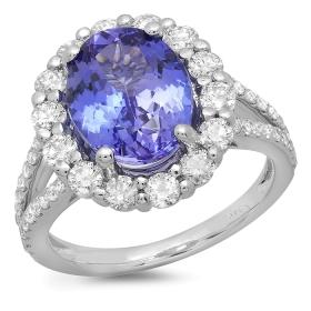 4.03ct Tanzanite and Diamond Split Shoulder Ring on 14K White Gold
