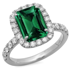 4 ct Green Emerald & Diamond Halo Ring 14K White Gold