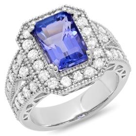 4 ct Emerald Cut Tanzanite & Diamond Ring on 14K White Gold