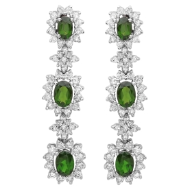 4.38 ct Chrome Diopside Diamond Dangle Earrings on White Gold