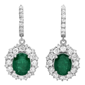 5.14 ct Emerald & Diamond Halo Drop Earrings on White Gold