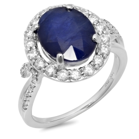 5 ct Blue Sapphire & Diamond Halo Ring on 14K White Gold
