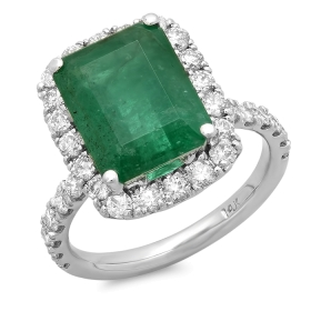 5 ct Emerald & Diamond Ring on 14K White Gold
