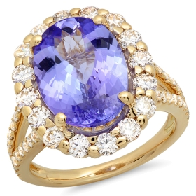 6 ct Tanzanite & Diamond Ring on 14K Yellow Gold
