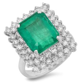 6 ct Emerald & Diamond Ring on 14K White Gold