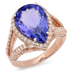 6 ct Tanzanite Pear-cut Diamond Ring 14K Rose Gold