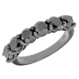 6 Stone Black Diamond Black Gold Ring