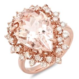 7 ct Morganite & Diamond Ring on 14K Rose Gold