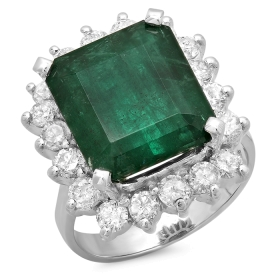 7.5 ct Emerald & Diamond Ring on 14K White Gold