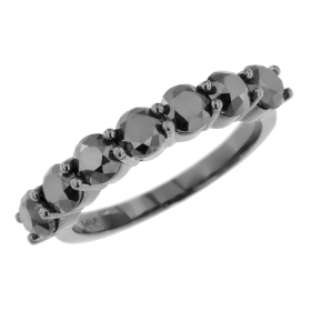 7 Stone Black Diamond Ring on 14K Black Gold