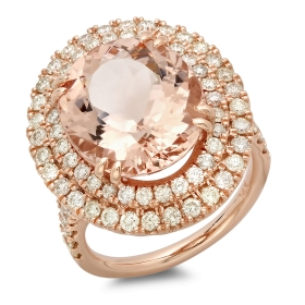8.42 ct Oval Morganite Engagement Ring
