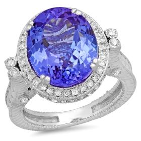 8.78 ct Tanzanite & Diamond Ring on 14K White Gold