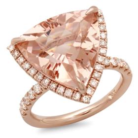 9 ct Trillion Cut Morganite Rose Gold Ring
